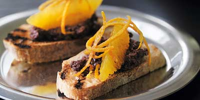 Crostini with tapenade, orange & fennel