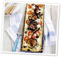 Grilled eggplant and goat's cheese tart