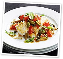Pan-fried flathead with Provencal sauce
