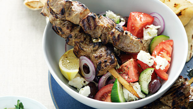 Marinated greek lamb skewers