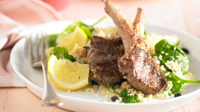 Chickpea couscous salad with lamb cutlets