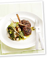 Lamb cutlets with zucchini, mint and fetta salad