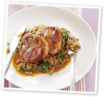 Lamb chops with lentils and spinach