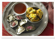 Oysters with two toppings