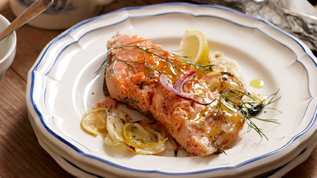 Roasted salmon with fennel & lemon