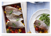 Roasted snapper with balsamic tomatoes
