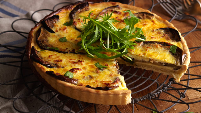 Savoury eggplant and haloumi quiche