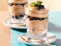 Baileys trifle with blueberries