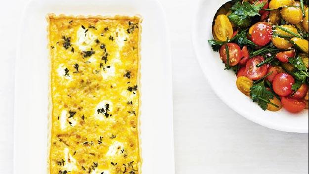 Leek, goat's cheese & thyme tart with tomato salad