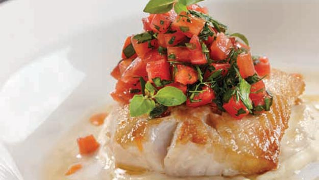 Roast mahi mahi with eggplant puree and sauce vierge