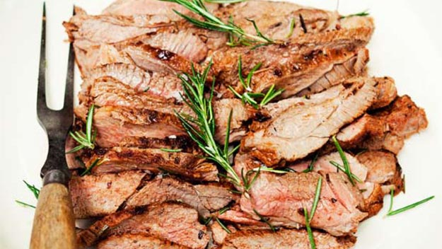 Marinated butterflied leg of lamb