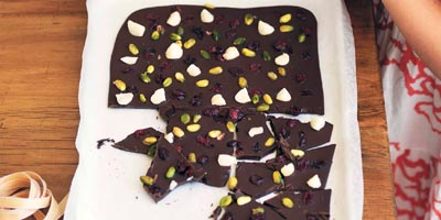 Milk & dark chocolate bark with fruit & nuts