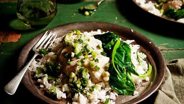 Hainan chicken with coriander rice