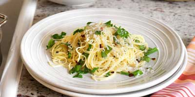 Angel hair pasta with herbs