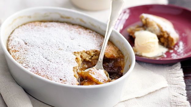 Banana butterscotch self-saucing pudding
