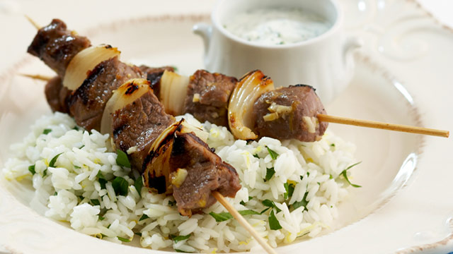 Barbecued Greek lamb kebabs