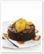 Chocolate fudge brownie with caramel bananas