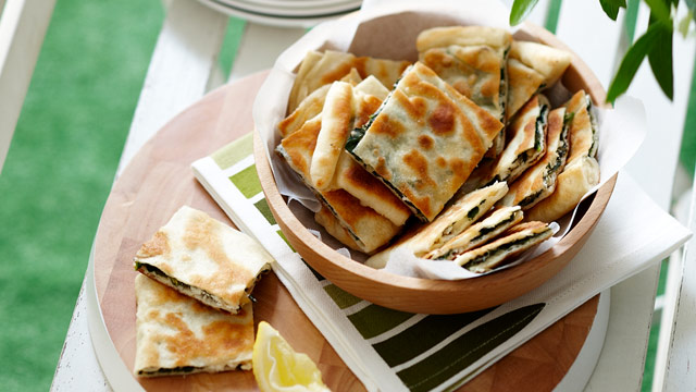 Barbecued spinach gozleme