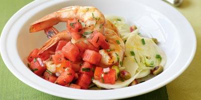 Grilled prawns with fennel salad & watermelon salsa