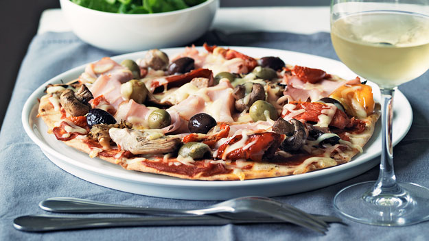 Ham and antipasto pizza
