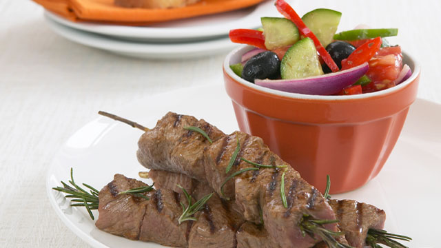 Rosemary kebabs with Greek salad