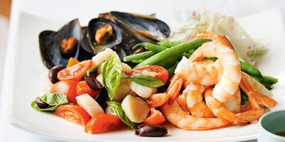 Seafood salad with fennel & olives