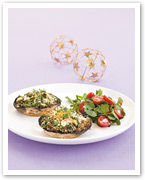 Herb and cheese stuffed mushrooms