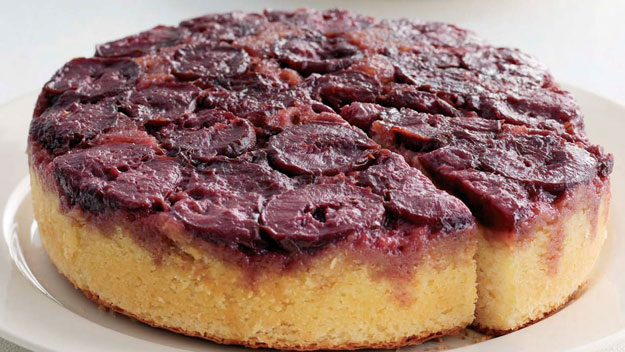 Buttermilk and plum upside down cake