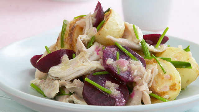 Warm potato, beetroot and chicken salad