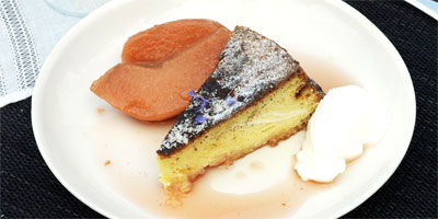 Olive oil & sauterne cake with poached quinces