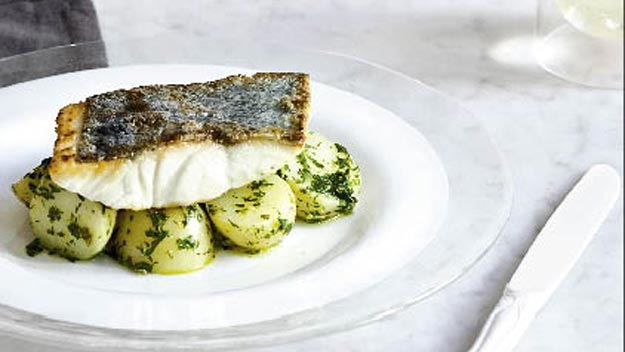 Crispy-skinned fish with salsa verde potatoes