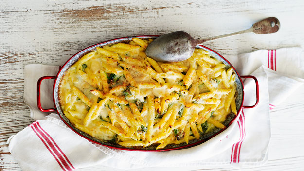 Creamy four-cheese penne