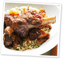 Braised lamb shanks with couscous