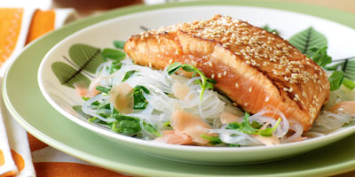 Miso-marinated salmon with glass noodle salad