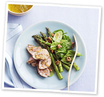Pork, asparagus and spinach salad