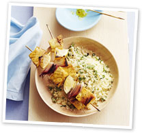 Swordfish kebabs with coriander couscous
