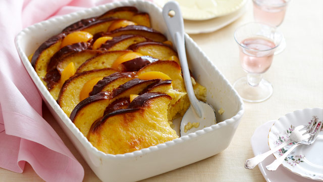 Peachy brioche and orange pudding