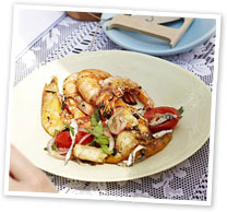 Spanish-style panzanella with BBQ prawns