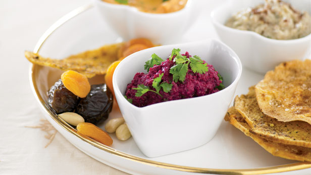 Mezze plate with toasted pita