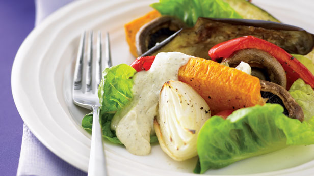 Roast vegetable salad with tofu and pesto mayonnaise