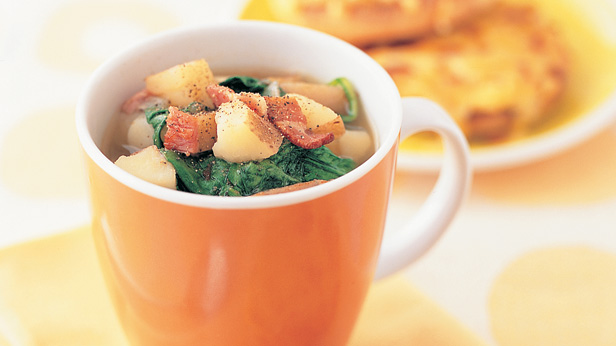 Bacon, potato and spinach soup