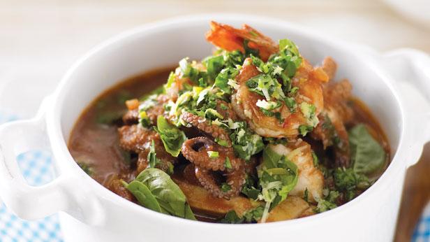 Seafood stew with coriander gremolata