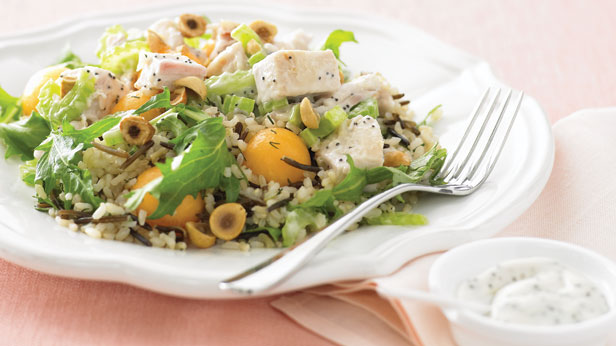 Chicken, rice and melon salad