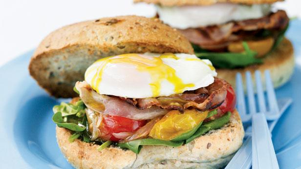Egg, pancetta and chilli tomato burgers