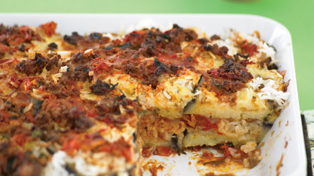 Herbed eggplant and rice bake