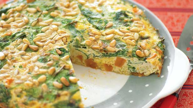 Sweet potato and pinenut frittata