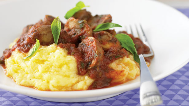 Swiss browns on soft polenta
