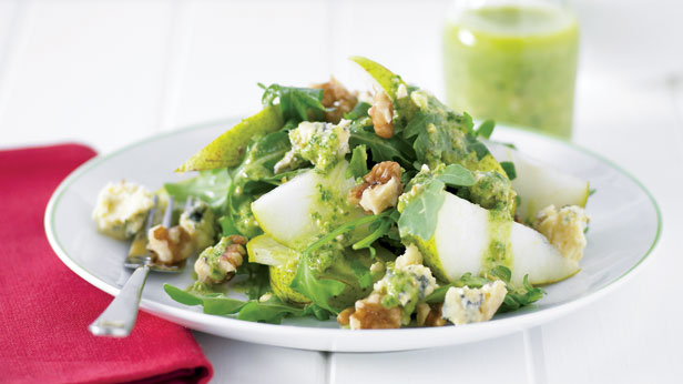 Pear and cheese salad with pesto dressing
