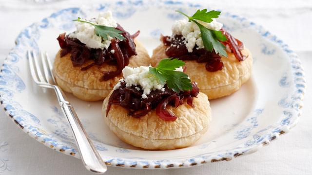 Caramelised onion and feta tarts