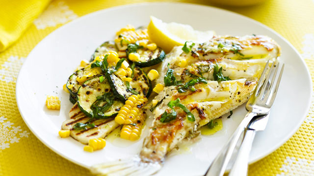 Leatherjacket with haloumi and corn salad